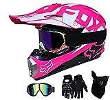 Motocross Helm Kinder Motorrad Helm Rosa Vollvisier Offroad Cross Helme Mit Schutzbrille Maske Handschuhe Motorrad MTB Outdoor Sport Motorrad Helm,M