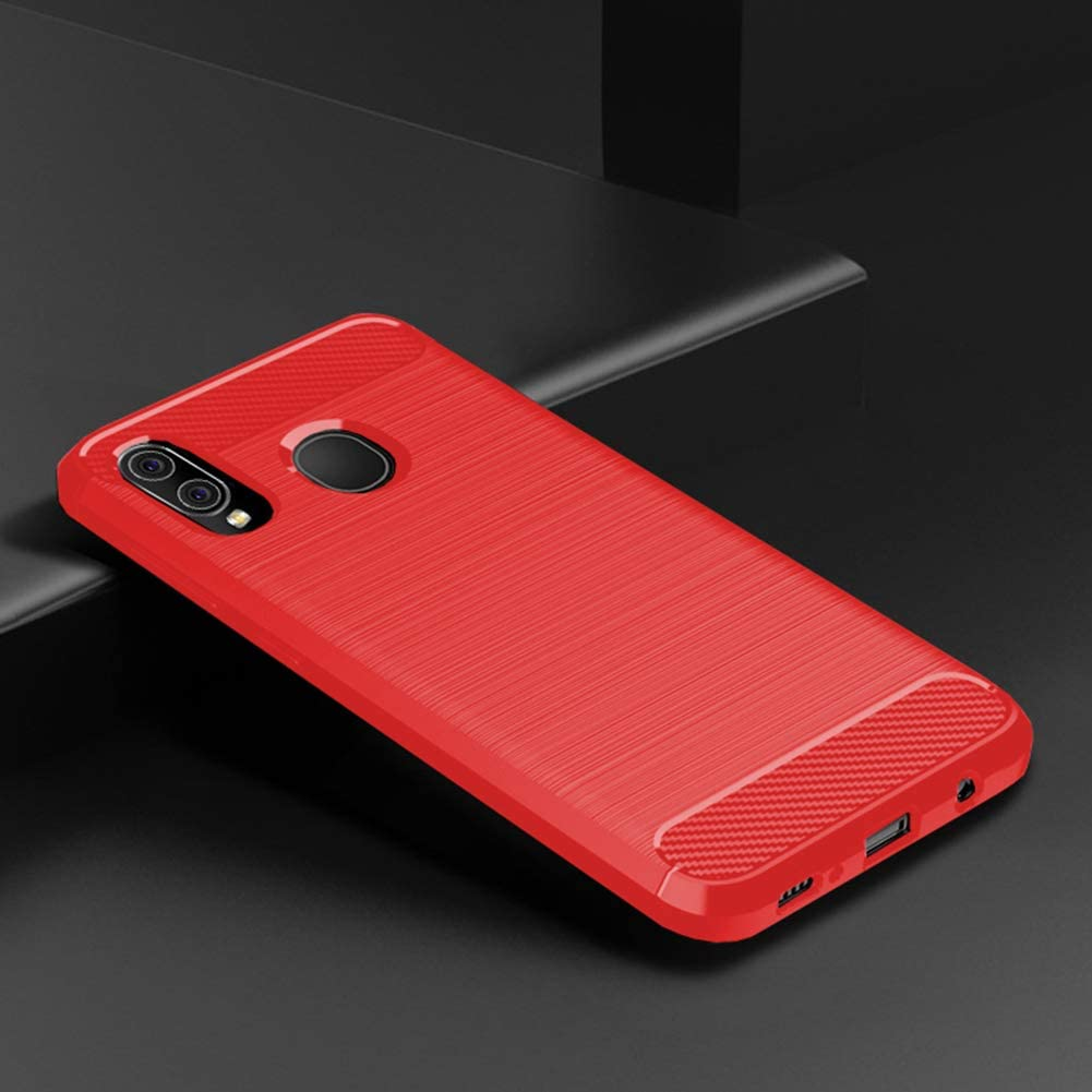 Samsung A20 case,Galaxy A20 Case,Galaxy A30 Case,MAIKEZI Soft TPU Slim Fashion Anti-Fingerprint Non-Slip Protective Phone Case Cover for Samsung Galaxy A20/A30 (Red Brushed TPU)