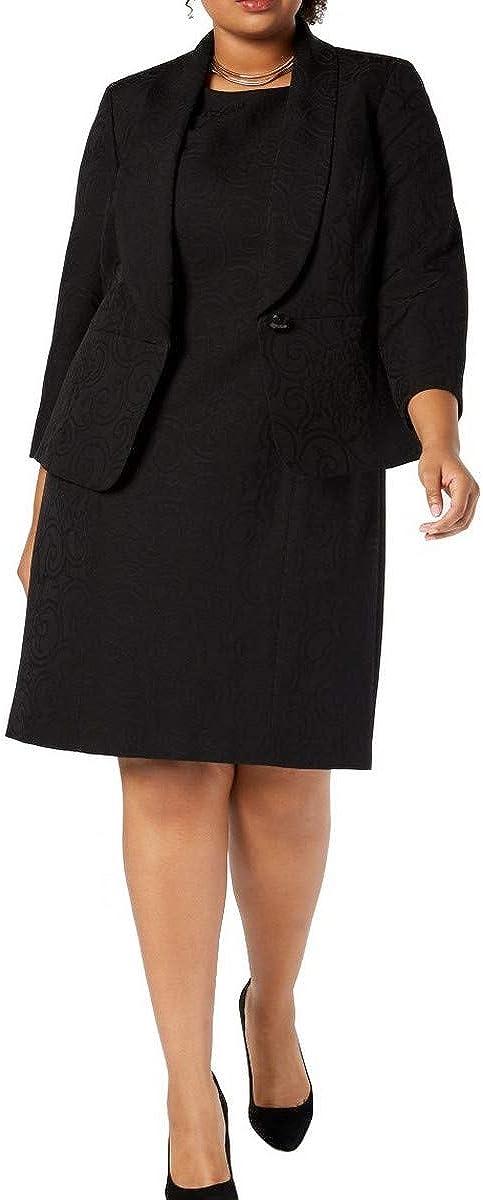Le Suit Women's Size Plus 1 Button Shawl Collar Jacquard Jacket with Sheath Dress