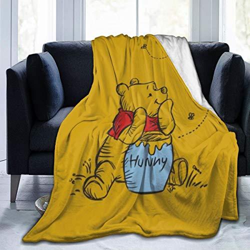 KANKANHAHA Winnie Pooh Supernatural Ultraweiche Mikroflano-Decken, luxuriös, gemütlich, bedruckt, flauschig, Plüschdecke für Couch Sessel Wohnzimmer, Schwarz , 50