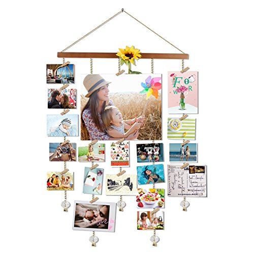 Olakee Photo Display Picture Frame Collage by Multi Photo Display with 20 Clips, Aged Walnut Wood Golden Chain with Crystal Pendant 16×29 inch (Brown)