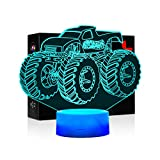 3D Lamps for Boys Bedroom Night lamp Kids Room Decor Monster Truck Kids Night Lights 7 Colors Change Decors Lamps Perfect Gifts for Kids or Monster Truck Fans