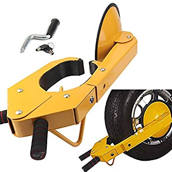 YIBAO Yellow Trailer Wheel Lock  Anti-Theft Wheel Lock ,Clamp Adjustable Tire Car Boot Lock  for Parking Car Truck RV Boat Trailer