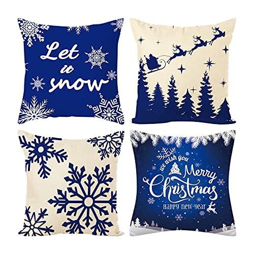 Fundas de almohada de Navidad, 4 piezas Fundas Cojines de lino de algodón Cojines Decorativos de Navidad Fundas de almohada de blancas y azules para decoración de fiesta interior del hogar