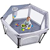 Baby Playpen, Eccomum Extra Large Playard, Kids Activity Centre, Portable with Soft Mattress, Anti-Skid Pads, Lightweight, Indoor-Outdoor, Gray