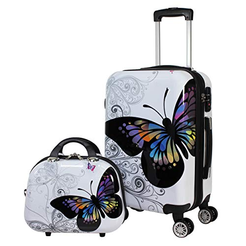 World Traveler 2-Piece Hardside Upright Spinner Luggage Set, Butterfly, One Size