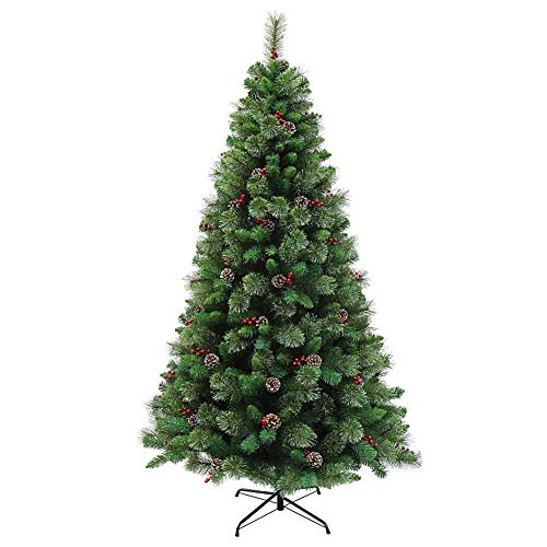 4 Feet Christmas Tree Pine Tree with Ornaments Pinecone Red Berries Full Artificial Christmas Tree with 248 Spikes for Living Room Indoor and Outdoor Christmas Decoration Green Unlit 120cm