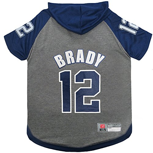Pets First NFLPA Tom Brady Hoodie for Dogs & Cats. NFL New England Patriots Dog T-Shirt, Large | Sports Hoody Tee Shirt for Pets | Licensed Sporty Dog Shirt. (TB-4044-LG)