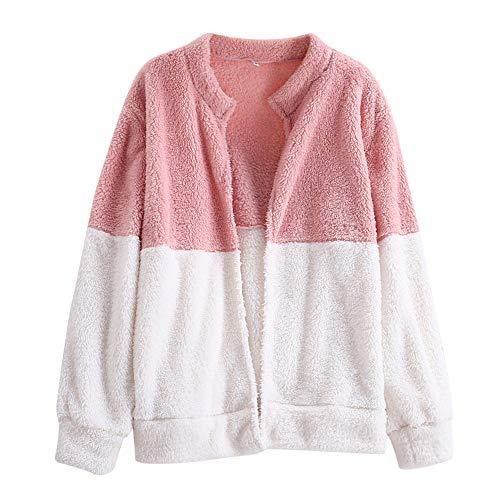 HOMEBABY Womens Fluffy flanel jas, meisjes winterjas Baggy lange mouwen Tops Sweatshirt Warm vest Overjas Outwear Klassieke trui Pullover Jumper (UK Maat 6-18)