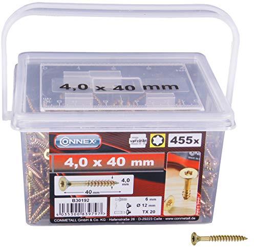 Connex B30192 - Viti Torx a testa piatta universali/per truciolato, 4 x 40 mm, a zincatura gialla, 455 pz