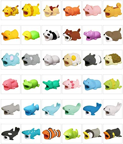 Cable Bite bite Animal-Shaped Silicone Cartoon Anti-Breaking Data Cable Protective Cover for iPhone/iPad/iwatch/Headphones(Randomly allocate 12 Pieces)