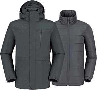 CAMEL CROWN Men's 3 in 1 Waterproof Ski Jacket Winter Jacket, Windproof Puffer Liner Snow Jacket Coat for Hiking Snowboard