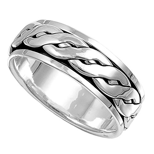 Sterling Silver Mens Celtic Knot Spinner Ring Beautiful 925 Band 8mm Size 14