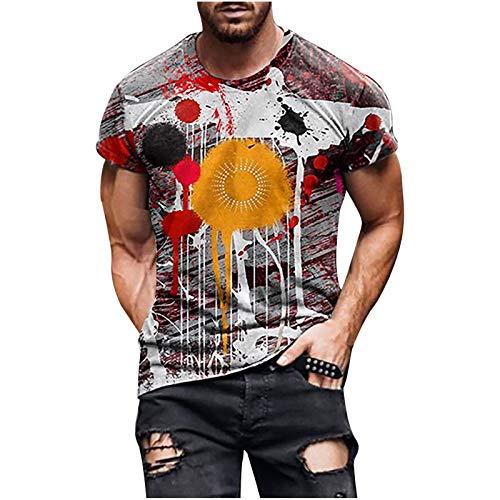 Sommer T-Shirt Herren 3D Drucken Top Streetwear Shirt Kurzarm Shirt Mens T Shirt Tie Dye Print Tshirt Vintage Männer Tee Oberteile Mode Herren T Shirts Kurzarmshirt Sports Shirt