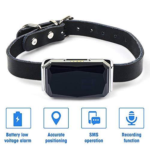 yingwang Rastreador GPS para Mascotas IP67 Impermeable Ajustable GPS Collar de Perro Cachorro Perro Dispositivo de rastreo de Gato Rastreador de Perros Anti-perdido-Gris Claro