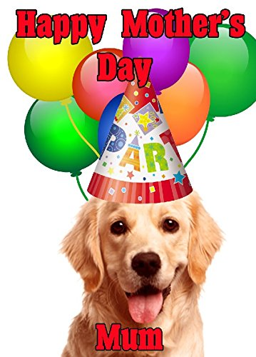Golden Retriever perro gorro de fiesta feliz día de la madre chmd174A5personalizable Tarjeta de felicitación