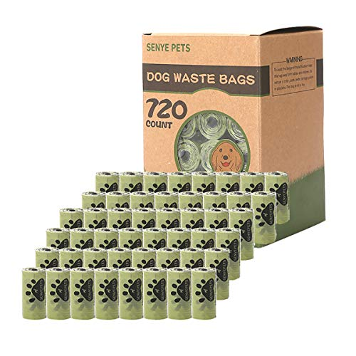 SENYEPETS Dog Waste Bags, Extra Thick and Strong Poop Bags for Dogs, Guaranteed Leak-Proof, 15 Doggy Bags Per Roll, Each Dog Poop Bag Measures 9 x 13 Inches (720-Count, Green)