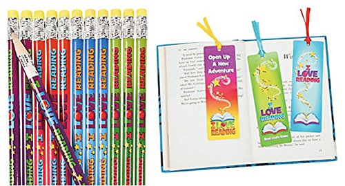 DG Shopping Spree I Love Reading Pencils and Bookmark Set (48 Pieces)