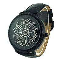 マットブラッククロス<文字盤:ブラック><ベルト:ブラック>1301-0202 アンコキーヌ 腕時計 スワロフスキー ぐるぐる時計