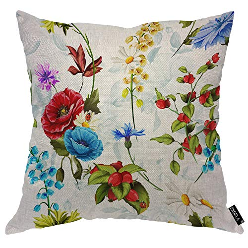 EKOBLA Floral Throw Pillow Covers Poppy Cornflowers Lily of The Valley Camomile Roses Ladybird Decorative Square Cushion Case for Merry Christmas Men Women Home Decor Cotton Linen 18x18 Inch