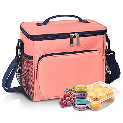 10.53L! Insulated Cooler Lunch Bag【Easy to clean】【12-Can Coke Cooler Bags】【Durability】 Wide-Open Reusable Leakproof Lunch Box Tote Bag Thermal Lunch Box with Adjustable Shoulder Strap for Women/Men