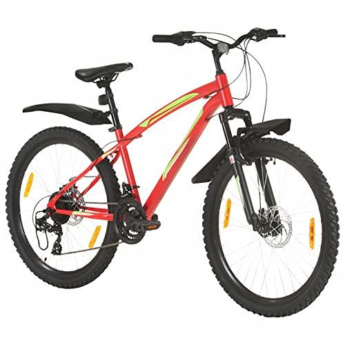 Qnotici Bicicleta de montaña 26 Pulgadas Ruedas Tren de transmisión de 21 velocidades, Altura del Cuadro 42 cm, Rojo