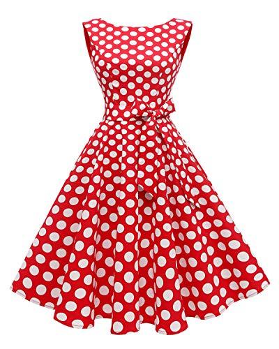 Hanpceirs Women's Boatneck Sleeveless Swing Vintage 1950s Cocktail Dress Redwhitedot L 1960's Womens Accessories Belt