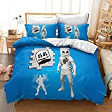 DJ Marshmallow Duvet Cover Set Twin Size,DJ and Gorgeous Stage Live Print, Soft Microfiber, 1 Duvet Cover&2 Pillow Cases, No Comforter, Twin