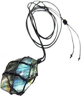 LAVALINK Corazón Labradorita Collar Colgante Piedra Natural De La Trenza Envuelta Yoga Collar De Los Hombres del Cordón Y ...