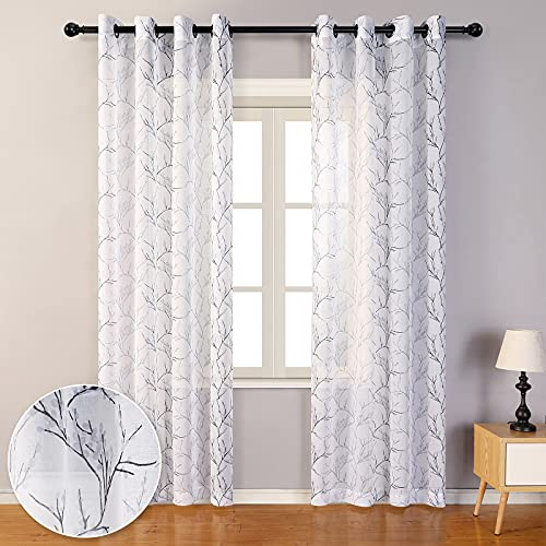 MYSKY HOME Black Branch Pattern Sheer Curtains 84 Inch Length for Living Room Voile Grommet Window Curtain 2 Panels