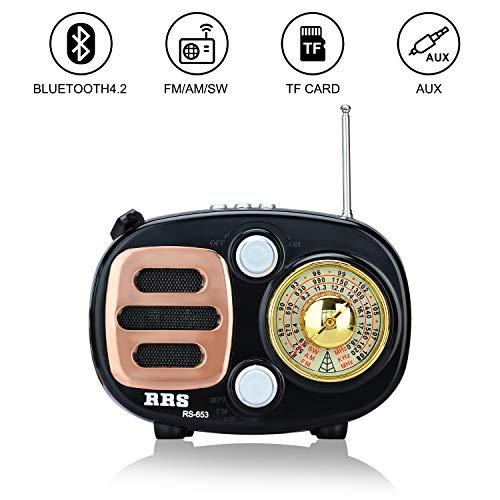 Songway Altavoz de Radio estéreo portátil con diseño clásico Vintage FM/Am/SW MP3, Bluetooth para inalámbrico, Compatible con Tarjeta TF/USB, con batería Recargable (Azul)