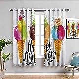 Cortinas opacas de decoración de alimentos para dormitorio con estampado de conos de helado y fruta y leche postre para niños Sequal ilustraciones reducir la luz multicolor W52 x L63 pulgadas