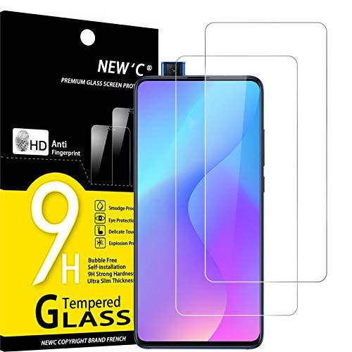 NEW'C 2 Unidades, Protector de Pantalla para Xiaomi Mi 9T, Mi 9T Pro, Redmi K20, K20 Pro, Antiarañazos, Antihuellas, Sin Burbujas, Dureza 9H, 0.33 mm Ultra Transparente, Vidrio Templado Resistente