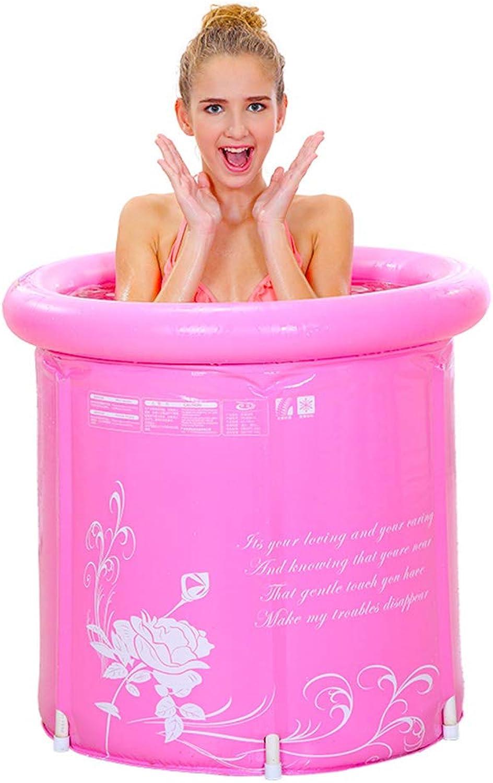 Bath tub bathing barrel adult bathing bath barrel PVC foot pump (color   Pink, Size   58  65cm)