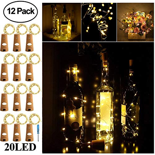 Adecorty Wine Bottle Lights with Cork - Silver Wire Cork Lights for Bottle 12 Pack 6.5ft 20 LED Bottle Lights Battery...