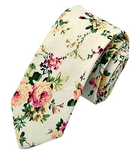 Gellwhu Men's Fashion Causal Cotton Floral Printed Linen Tie Necktie (4 Colors)