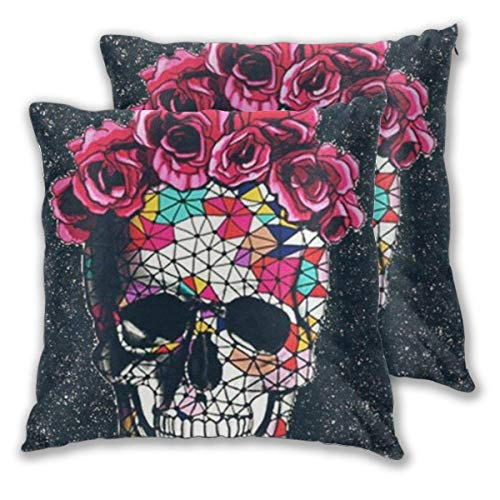 JONINOT 2 PCS 16'x16' Colorful Skull Roses Space Throw Pillow Cushion Case,Inserts are Not Included