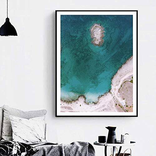 KWzEQ Nordic sea beach bridge landscape poster and print mural pop art mural living room decoration-Frameless painting50X70cm