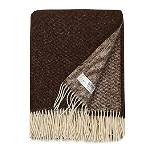 Cozy Blankets Wolldecke   100prozent Wolle aus Neuseeland   Ideal als Überwurf Decke/Sofadecke   Schurwolle Blanket mit Fransen (140 x 200 cm) (Braun-weiß)