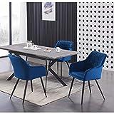 Life Interiors: Blaze Table & Camden Juego de comedor de terciopelo   Sillas acolchadas   Mesa de comedor de color ceniza/negro   Mesa de comedor moderna   Juego de mesa de comedor   Azul real