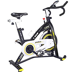 pooboo Indoor Cycling Bike Trainer, Professional Exercise Bike Stationary Bike for Home Cardio Gym Workout (yellow2)