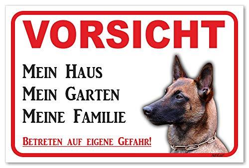AdriLeo Schild - Vorsicht Malinois - Mein Haus - (20x30cm) / Achtung Hund Wachhund