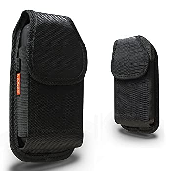 Vertical Belt Clip Case For Samsung Galaxy S9 PLUS/S10 Plus/Note 10 Plus Heavy Duty Rugged Contractor Canvas Two Loops Metal Clip Fits Phone+Otterbox Defender/Commuter/Lifeproof Cover On - Black