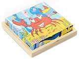 Black Temptation Cubo Puzzle de Madera para los niños con una Bandeja de Madera 6 Puzzles en 1 Conjunto (16 Piezas) # 24
