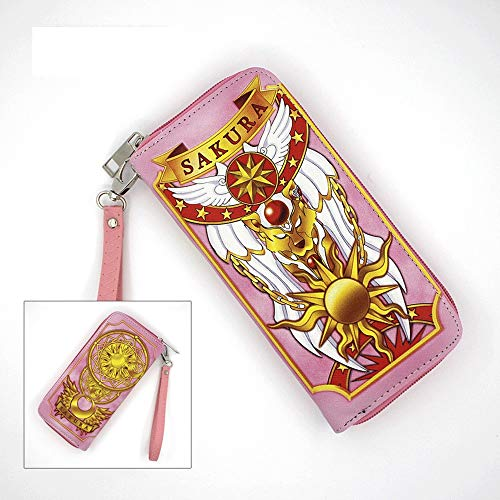 KaiWenLi Card Captor Sakura/Clow Card Pattern/Anime Cartoon Wallet/PU Leather/Long Section with Zipper/Multi-Layer/Multi-Card Slot/Suitable for Students and Anime Lovers