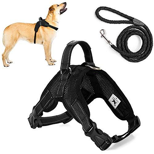 Trongle Hundeweste, Nicht Ziehendes Geschirr mit Griff, Einfache Kontrolle, Komfortabel Atmungsaktiv, Air-Mesh, Verstellbarer Brustgurt für Hunde mit Nylon-Leine (Schwarz,M)