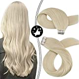 Moresoo Tape in Hair Extensions Unprocessed Real Human Hair 20inch Seamless Skin Weft Adhesive Hair Extensions Color #60 Platinum Blonde Tape in Remy Human Hair Extensions 20pcs/50g