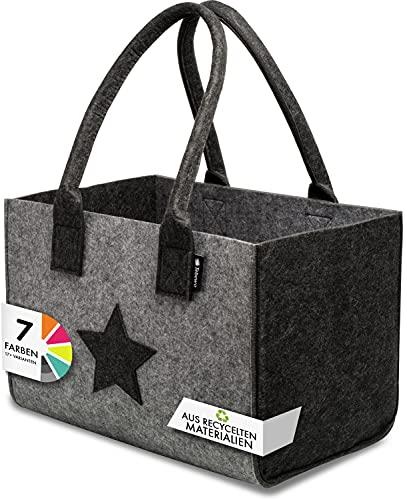 Tebewo Shopper Filztasche Premium, große Einkaufs-Tasche mit Henkel, Einkaufskorb, Faltbare Kaminholztasche zur Aufbewahrung von Holz (Dunkelgrau/Hellgrau)