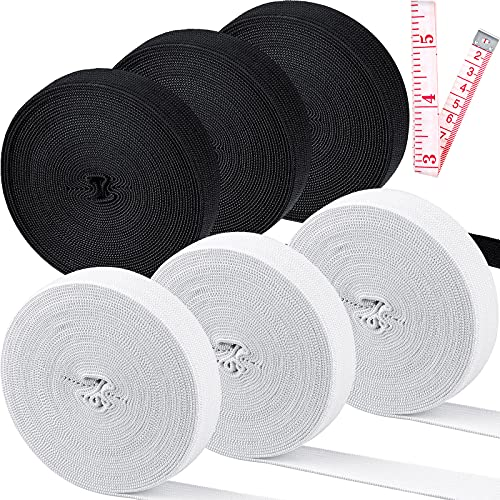 6 Rolls Elastic Bands for Sewing 3/5 Inch Wide Stretch Elasticity Knit Spool Knitting Band Flat Elastic Cord for Sewing Wig Cloth Craft DIY Project, 30 Yard Total (15 Yard of White, 15 Yard of Black)