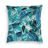 Funda de almohada de terciopelo turquesa azul marino con triángulos geométricos para sofá cuadrado, funda de cojín decorativa 55 x 55 cm